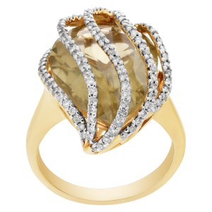 Citrine with diamond accents ring in 14k