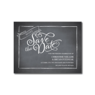 chalkboard_script_white_save_the_date_post_card-239100132491486119
