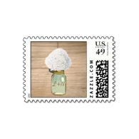 country_rustic_mason_jar_hydrangea_wedding_stamps-172468300471156247