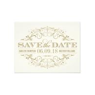 save_the_date_postcard_antique_gold_flourish_invitation-161939949526650106