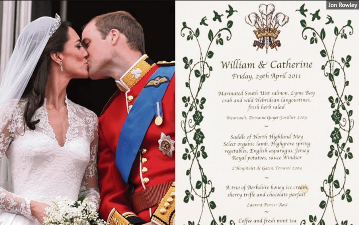 Will and Kate's Royal Wedding Breakfast Menu For Sale