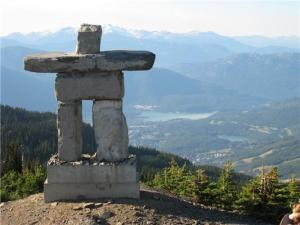 Inukshuk Atop Whistler Overseeing The Village