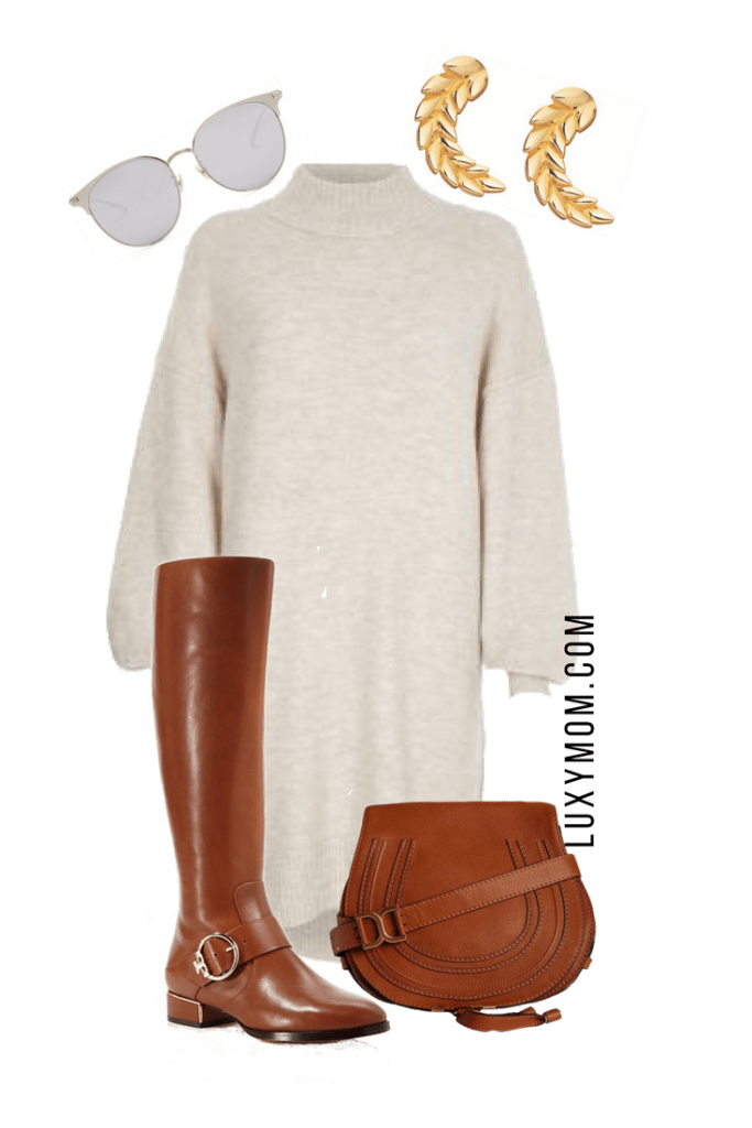 Sweater Dress Outfit With Brown Accessories