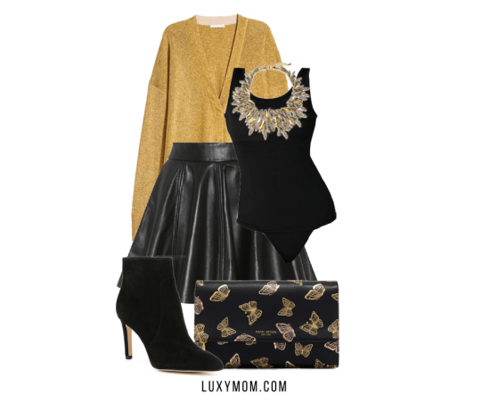 gold and black bodysuit leather skirt holiday party outfit