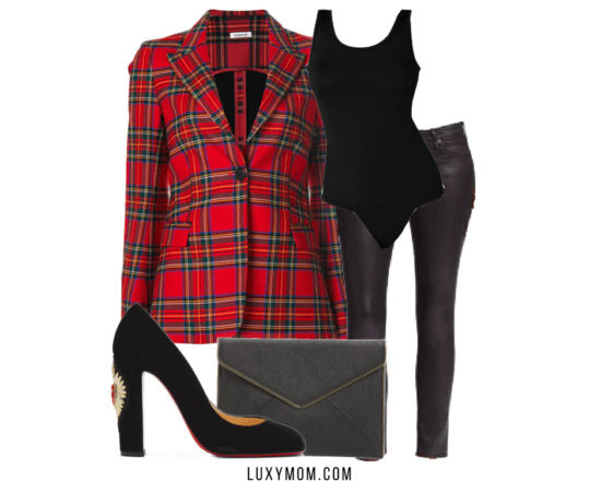 red plaid blazer black bodysuit leather skinnes holiday outfit