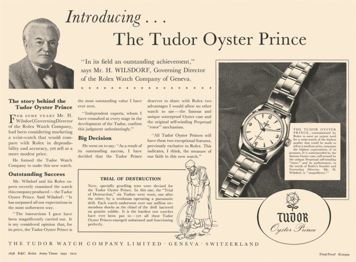Tudor watches old advertisements
