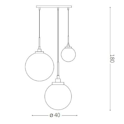 medidas Lámpara de techo Grape 3L