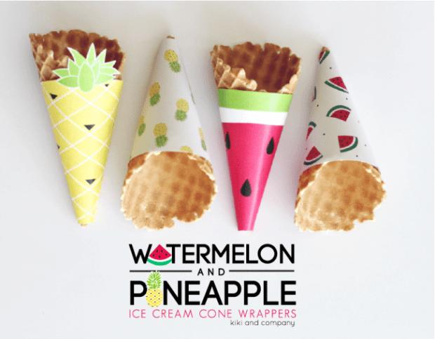 Watermelon-and-Pineapple-Ice-Cream-Cone-Wrappers.-LOVE-e1433545623477