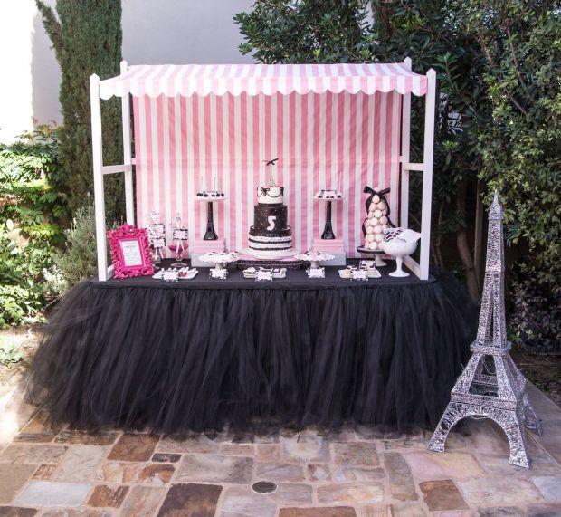 Parisian-Cafe-Party-Dessert-Table