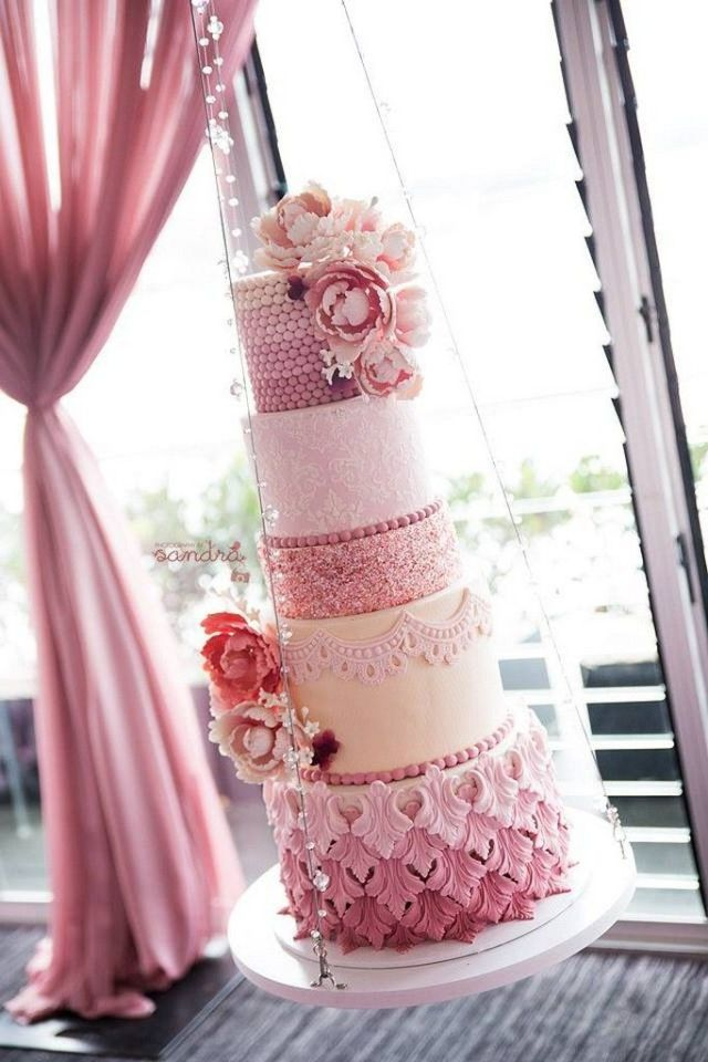 multi-tiered-sparkling-hanging-cake