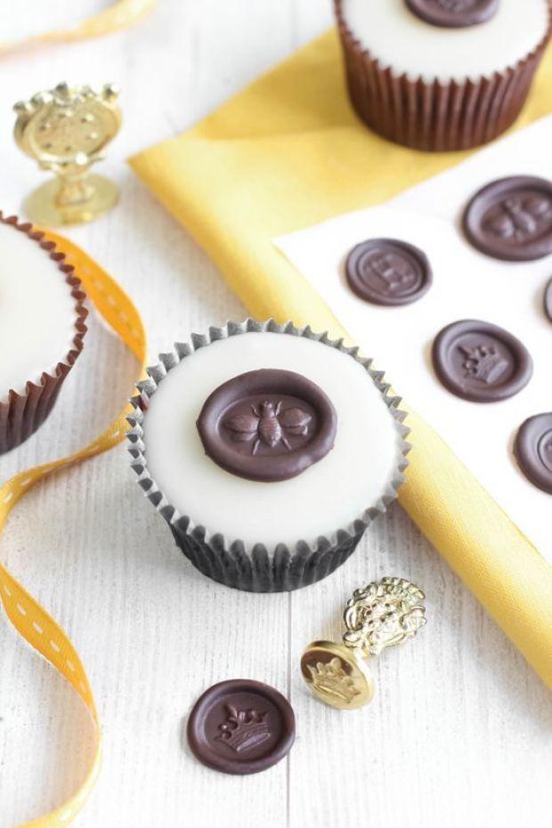 SprinkleBakes Sprinkle Bakes Poured Fondant Honey Cupcakes with Chocolate Wax Seals 1.jpg