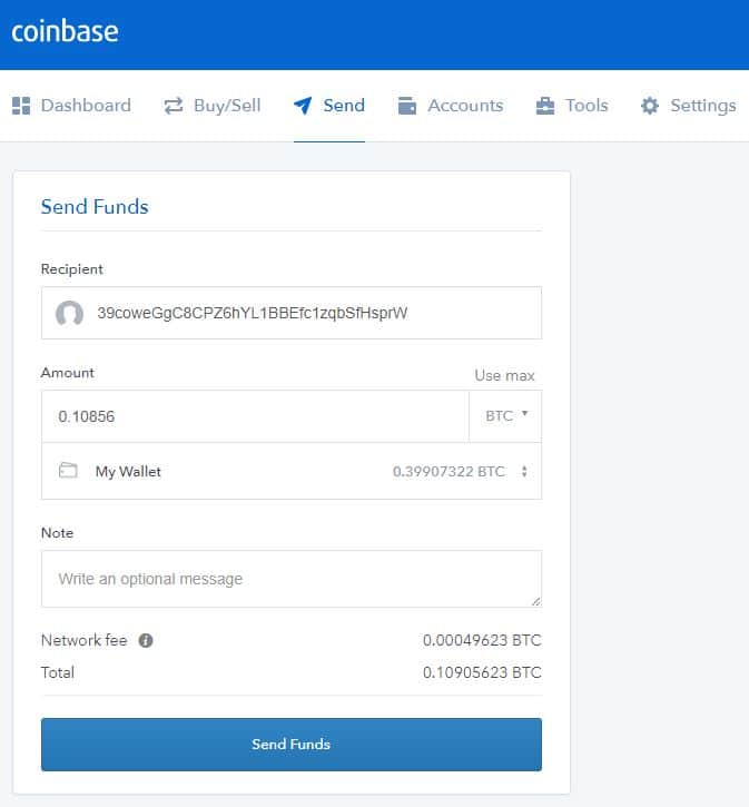 send bitcoin from your coinbase wallet