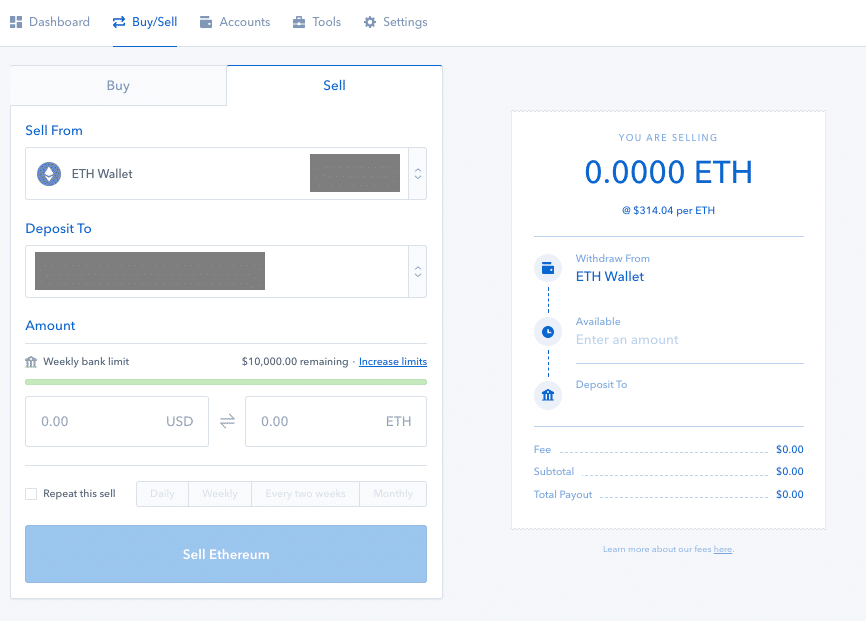 Coinbase Sell Ethereum