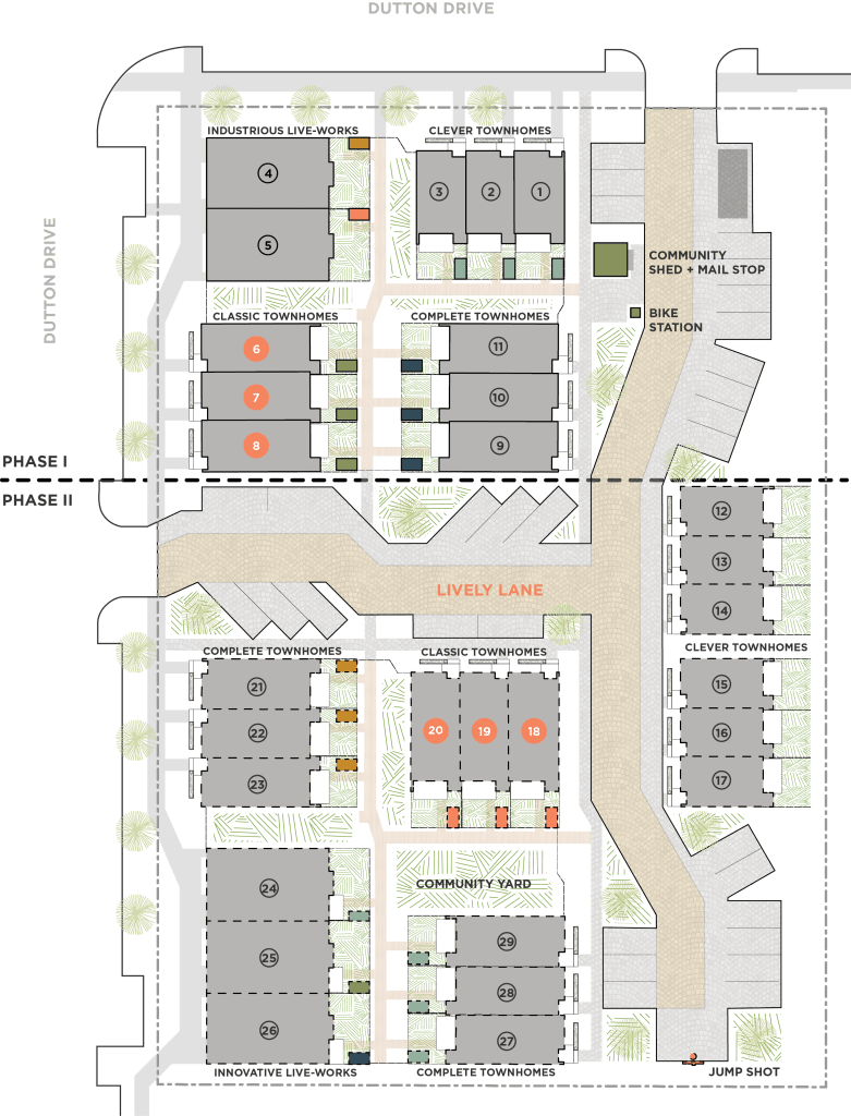 Site plan of Lively Lane with labels on The Classic Townhome units