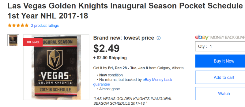 LVSportsBiz.com recalls fans gobbling up those pocket schedules and  re-selling them on eBay during the inaugural season. In fact d05376584