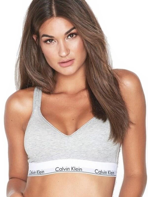 Calvin Klein podprsenka športová Modern Cotton Bralette Lift šdeá