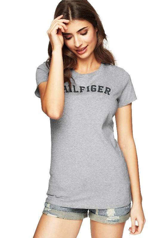 Tričko Tommy Hilfiger SS Tee Print Logo šedé