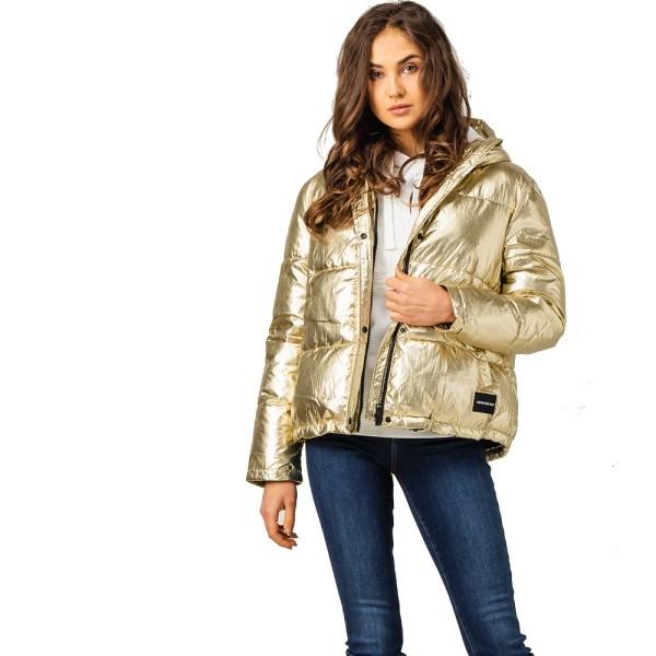 Calvin Klein Jeans bunda dámska zimná prešívaná vetrovka Metallic Puffer Gold zlatá 01