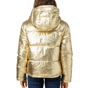 Calvin Klein Jeans bunda dámska zimná prešívaná vetrovka Metallic Puffer Gold zlatá 03