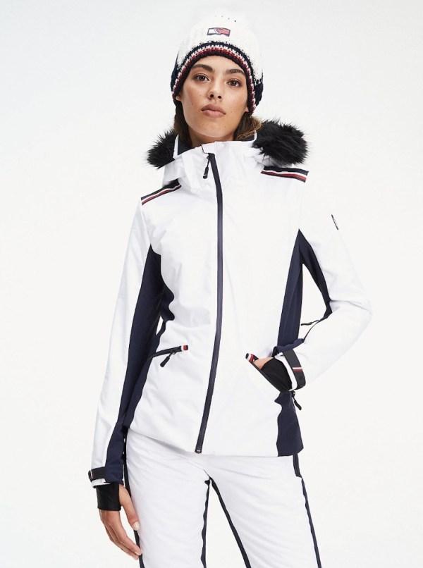 Tommy Hilfiger bunda dámska lyžiarska x Rossignol s kožušinou biela 01
