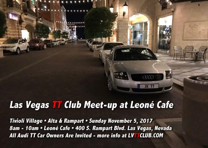 November 5, 2017 Las Vegas TT Club Meet-up 8-10am