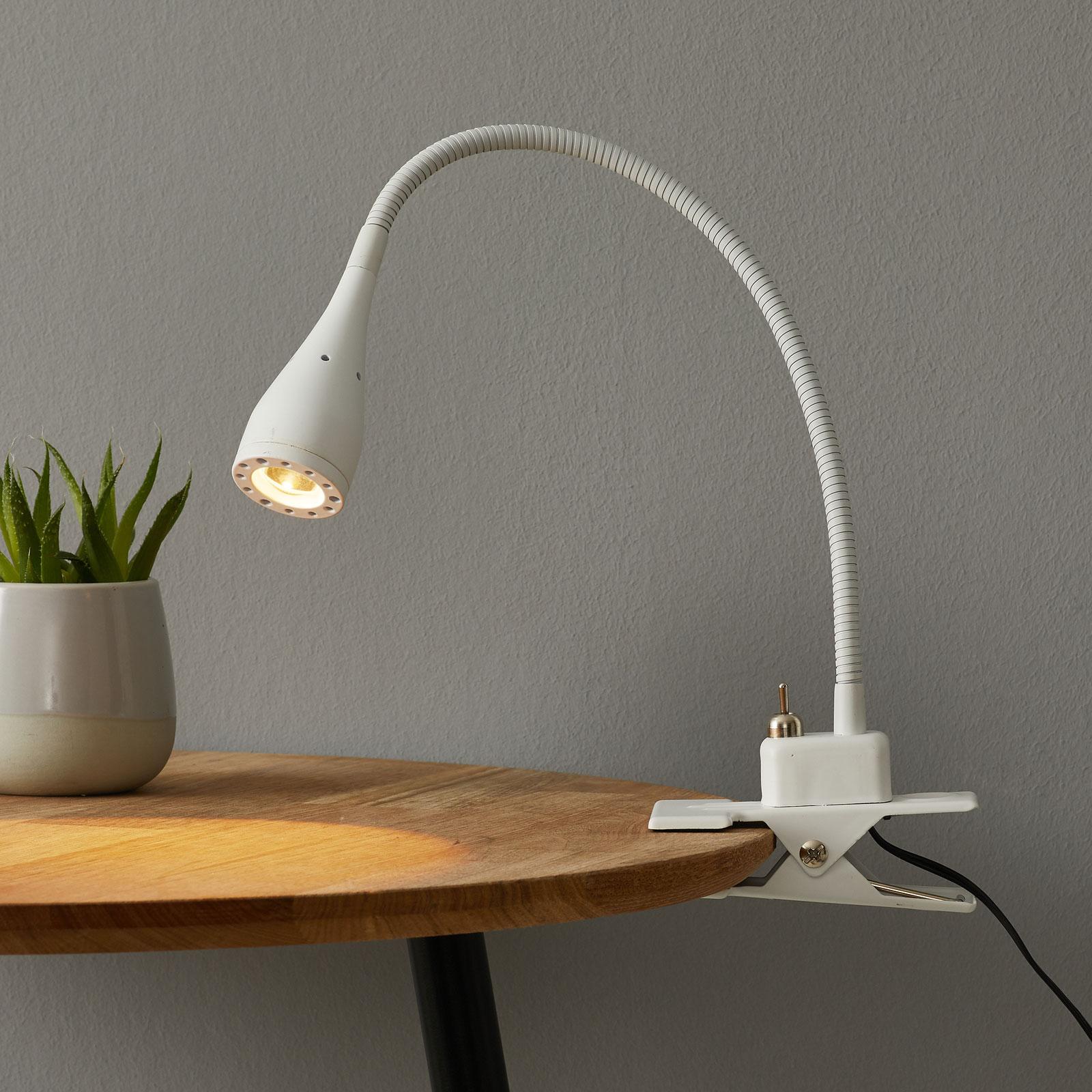 Fleksibel Mento Led Lampe I Hvitt Med Klemme Lampegiganten No