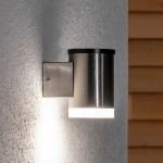 Tyson Led Solar Outdoor Wall Light Round Satin Lights Co Uk