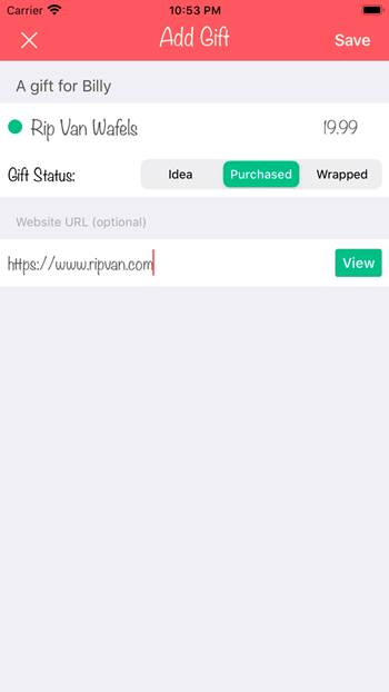 App Add Gift Screen