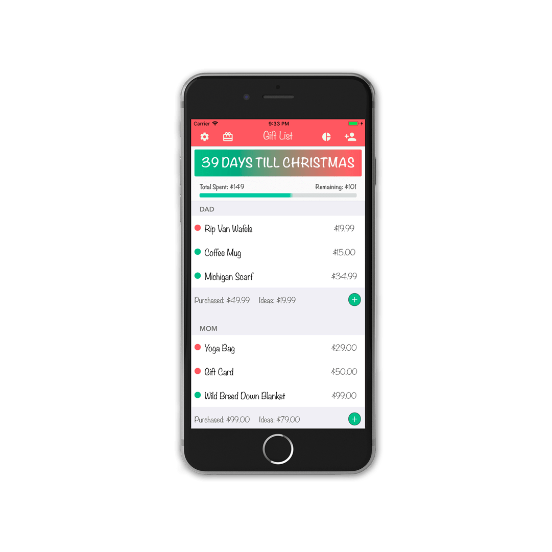 Christmas Gift List Tracker App