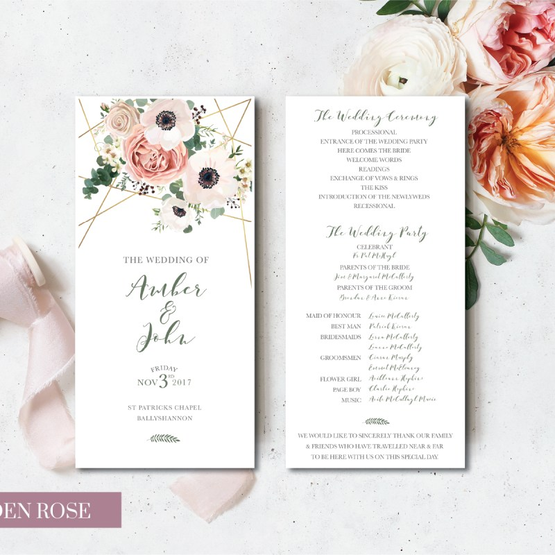 Garden Rose Bridal Card