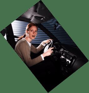 Woman driver trust passenger a bit panic.