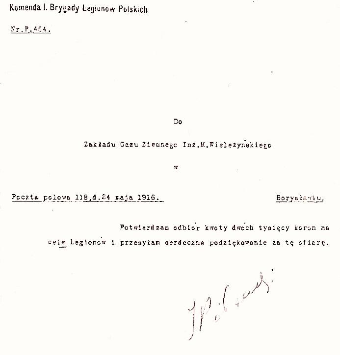 Potwierdzenie przyjęcia darowizny na Legiony Polskie