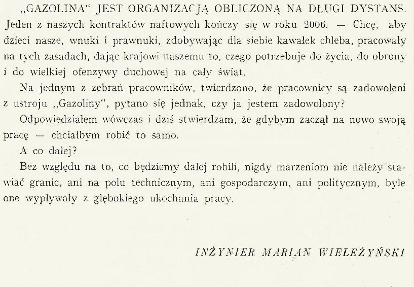 """cytat z wydania """"W dwudziestopięciolecie S. A. """"Gazolina"""": 1912-1937″"""