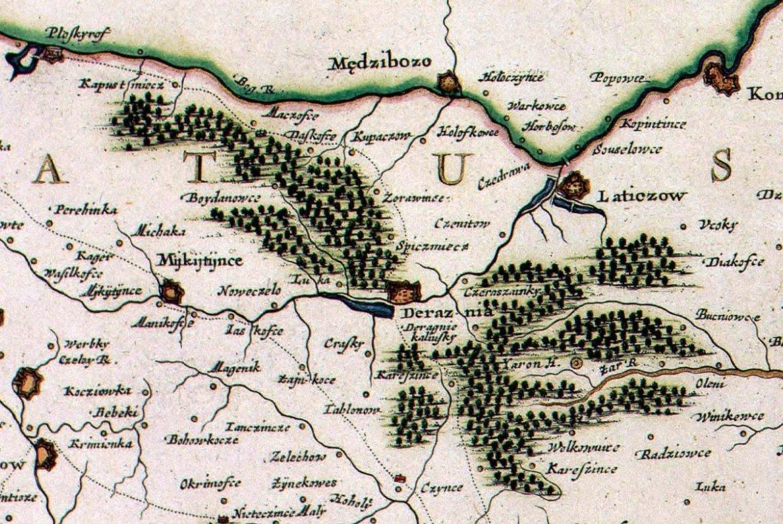 Sieć zamków podolskich w okolicach Międzyboża na mapie de Beauplana z 1664 r.