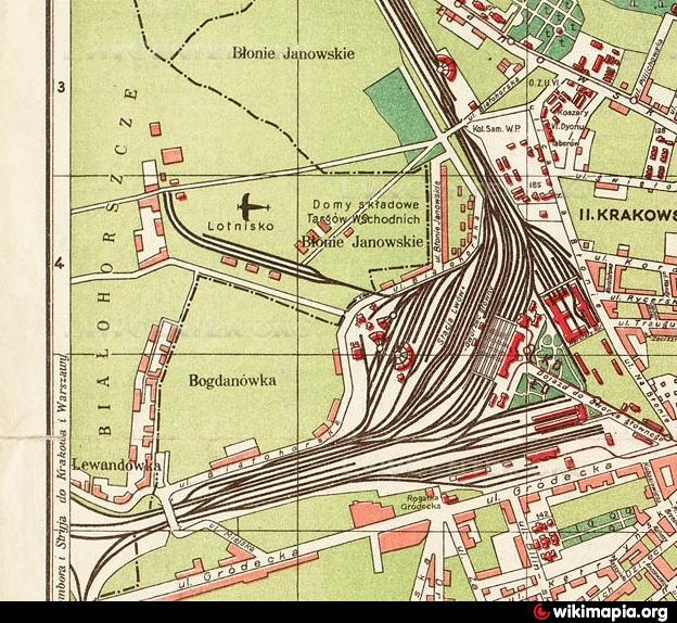 Fragment mapy Lwowa z zaznaczonym lotniskiem na Lewandówce