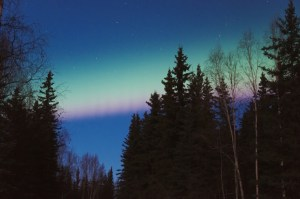 red and pink bands in the aurora