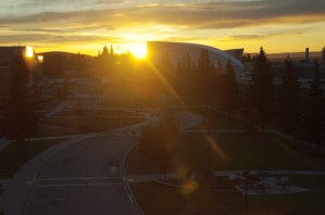 Sunrise over the Museum of the North