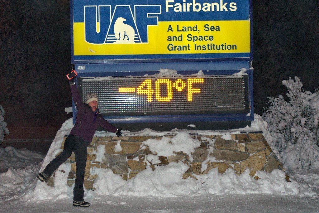 -40 degrees in front of the UAF sign