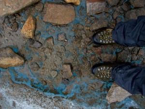blue ice beneath my feet on a glacier in the alaska range