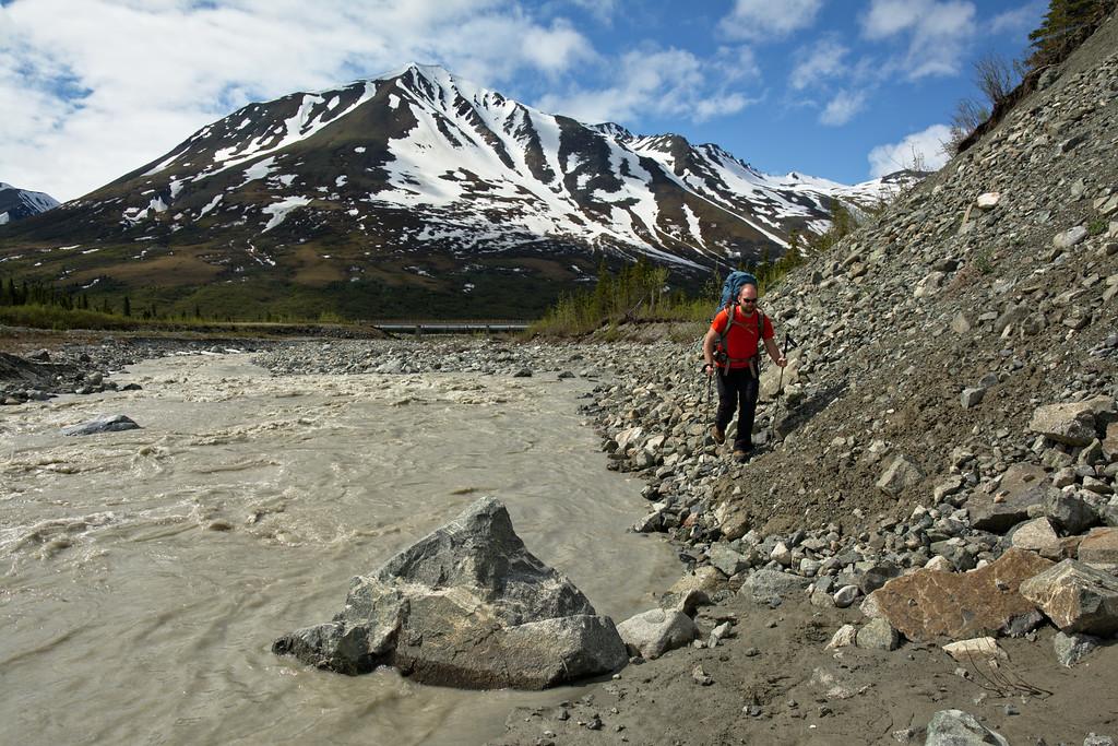Phil hiking along Miller Creek at the start near the Richardson Highway
