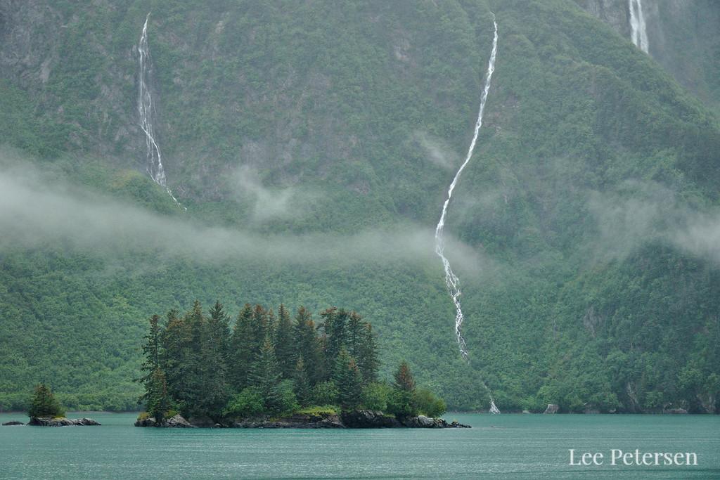 Waterfalls and islands in Prince William Sound near Valdez, Alaska.