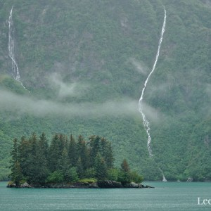 Waterfalls and islands in Prince William Sound near Valdez, Alaska.