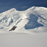 Ice-covered mountains over the Black Rapids Glacier in the Alaska Range