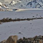 Light on the mountains over the Black Rapids Glacier in the Alaska Range