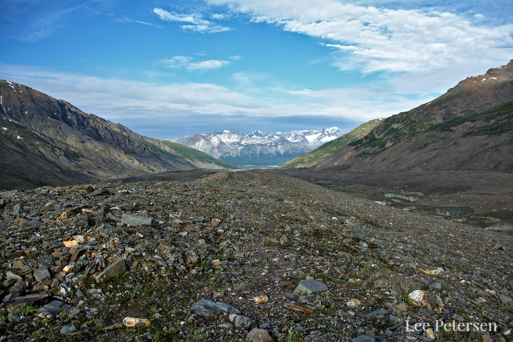 Looking down the moraine on the Castner Glacier