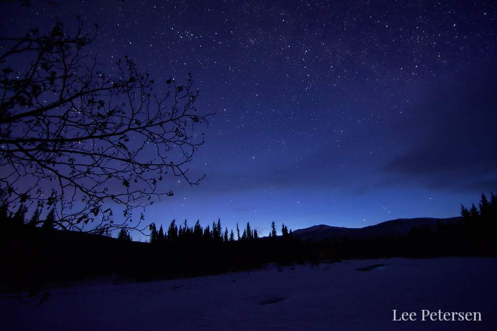 The night sky over the North Fork of the Chena River along the Angel Rocks Trail. Chena River State Recreation Area - Alaska