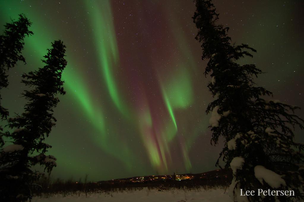 Aurora borealis over the Goldstream Valley in Fairbanks, Alaska