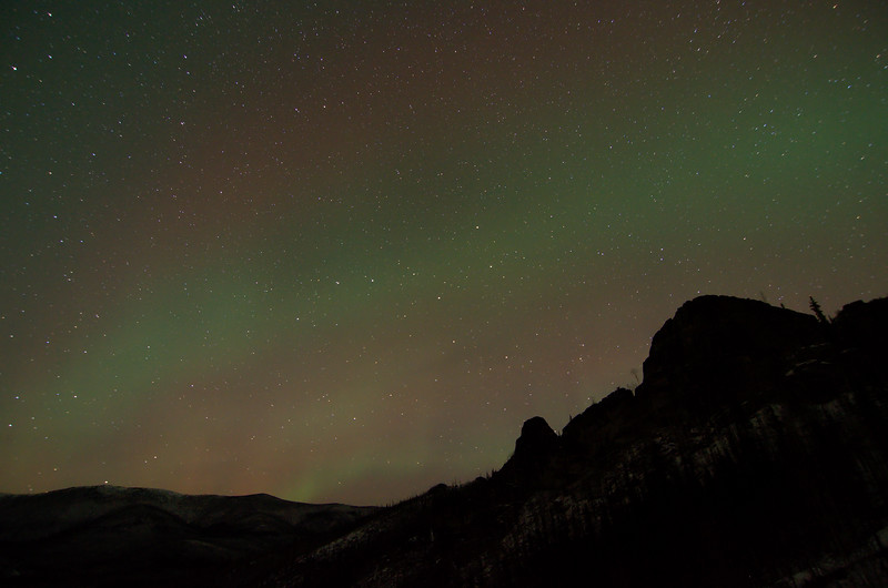 In the couple hours I spent out here in the howling wind, the aurora never did much. Ursa Major is in the center.
