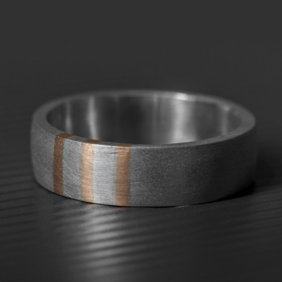 Gold Stripes Wedding Ring