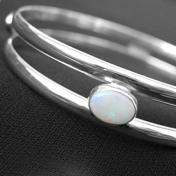 Opal/Hematite bangle